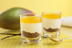 Dessert with mango topping, cream and cake in glasses Royalty Free Stock Photography