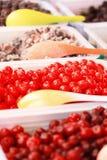 Dessert in markt Royalty-vrije Stock Foto's