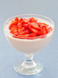 Dessert: Mascarpone cream with strawberries Stock Photography