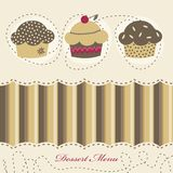 Dessert menu. With 3 muffins Stock Photo