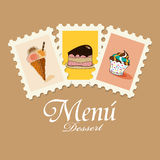 Dessert menu. Vector cute dessert menu pattern Stock Photo