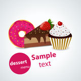 Dessert menu. Vector dessert menu pattern illustration Stock Image