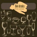 Dessert, menu, bevande, tè, caffè, cocktail, vetri dell'alcool, bottiglia, menu, modello, modello royalty illustrazione gratis