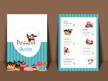 Dessert Menu Card design. Dessert Menu Card design with front and back page view Royalty Free Stock Photo