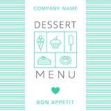 Dessert Menu Card Design template. Vector illustration Royalty Free Stock Photo