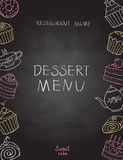Dessert menu on chalk Board. For restaurant or cafe vector illustration Royalty Free Stock Image