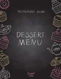 Dessert menu on chalk Board Royalty Free Stock Image