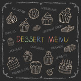 Dessert menu on chalk Board. For your design, vector illustration Stock Photography