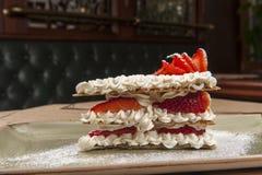 Dessert menu. With cream and strawberry Stock Photo