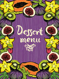 Dessert menu Design card with fresh fruits Stock Photos