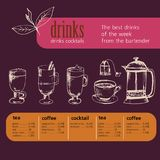 Dessert, menu, drinks, tea, coffee, cocktail,alcohol glasses, bottle, menu, pattern, pattern vector illustration