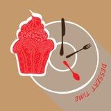 Dessert menu, flat design stylized  icon Stock Images