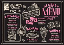 Dessert menu restaurant, food template. Dessert restaurant menu. Vector food flyer for bar and cafe. Design template with vintage hand-drawn illustrations Stock Photo