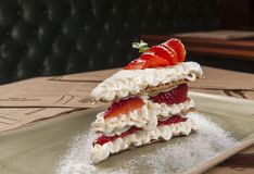 Dessert menu. With strawberry and waffles Stock Photo