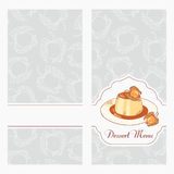 Dessert menu template design for cafe. Creme caramel on plate in vector Stock Photography