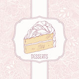 Dessert menu template with sweet cake and doodle. Pattern in vector. Design for cafe or pastry shop. Hand drawn background Stock Photos