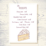Dessert menu template with sweet vanilla cake Stock Photo