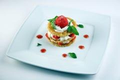 Dessert met aardbei Stock Foto