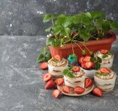 Dessert met aardbeien Royalty-vrije Stock Fotografie