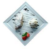 Dessert met aardbeien Stock Foto's