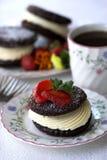 Dessert met aardbeien en koffie Royalty-vrije Stock Afbeelding