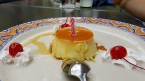 Dessert met kersen Stock Afbeelding