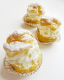 Dessert Mini Cake. Closeup of delicious Italian handmade mini cake dessert with whipped cream Stock Images