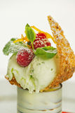 Dessert with mint icecream. And raspberries royalty free stock image