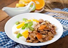 Dessert with muesli and fruit Stock Images