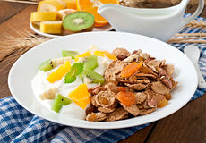 Dessert with muesli and fruit Stock Photography