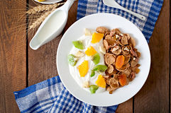 Dessert with muesli and fruit Royalty Free Stock Image