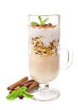 Dessert with muesli and yogurt in a glass Royalty Free Stock Images