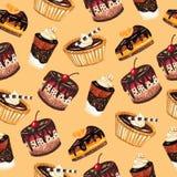 Dessert naadloos patroon Stock Foto's
