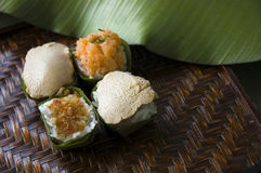 Dessert native Thai style. Group of dessert Thai style sweet sticky rice Royalty Free Stock Photography