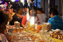 Dessert night market. Woman sale her dessert at night in Grand Openine at Asiatique in Bangkok Thailand Stock Images