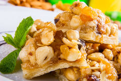 Dessert with nuts and honey Royalty Free Stock Images