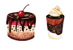 Dessert op een witte achtergrond Royalty-vrije Stock Afbeeldingen