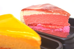 Dessert Orange Cheesecake with Strawberry cheesecake Royalty Free Stock Images