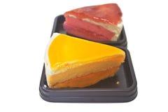 Dessert Orange Cheesecake with Strawberry cheesecake Royalty Free Stock Photo
