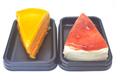 Dessert Orange Cheesecake with Strawberry cheesecake Stock Images