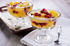 Dessert of orange slices and berries cranberries Royalty Free Stock Image