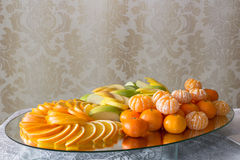 Dessert of oranges and apples Stock Images