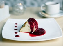 Dessert - Pancake Cake with Ice Cream, Berries Jam Stock Photography