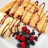 Dessert with Pancake and Fruits