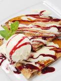 Dessert - Pancakes with Ice Cream Royalty Free Stock Photos