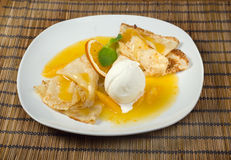 Dessert - Pancakes with Ice Cream Stock Photo