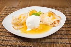 Dessert - Pancakes with Ice Cream a Stock Photos