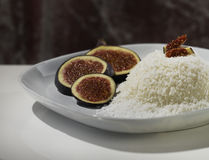 Dessert. Panna cotta dessert with cocos and figs Royalty Free Stock Image