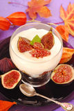 Dessert with panna cotta and figs Stock Images