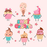 Dessert party cafe. Collection funny cupcake in cartoon style  illustration. Cute smiley character with eyes and legs.Background for dessert party Royalty Free Stock Photos